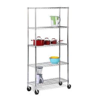 5-tier chrome shelving unit with casters