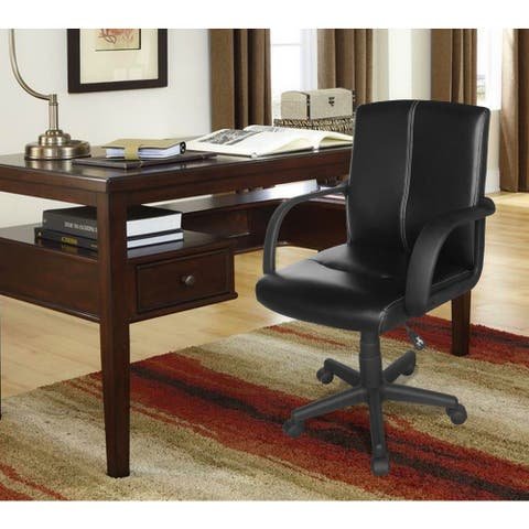 Tufted Black Leather Mid-back Office Chair