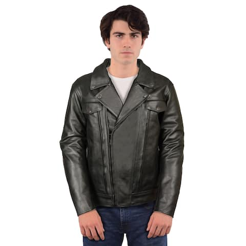 Men's Black Cowhide Leather Regular and Tall Sizes Vented Cruiser Jacket With Utility Pocket