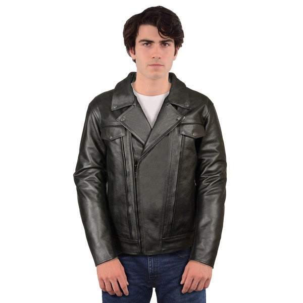Mens Black Cowhide Leather Regular and Tall Sizes Vented Cruiser Jacket with Utility Pocket