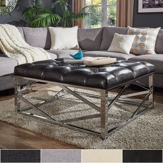 Solene Geometric Base Square Ottoman Coffee Table - Chrome by iNSPIRE Q Bold