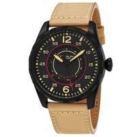 Stuhrling Original Men's Quartz Avaitor Beige Leather Strap Watch - black