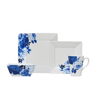 222 Fifth Indigo Rose Blue and White Porcelain 16-piece Dinnerware Set