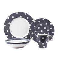 Red Vanilla Freshness Dots Grey Porcelain 16-piece Dinner Set