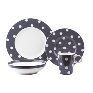 Red Vanilla Freshness Dots Grey Porcelain 16-piece Dinner Set