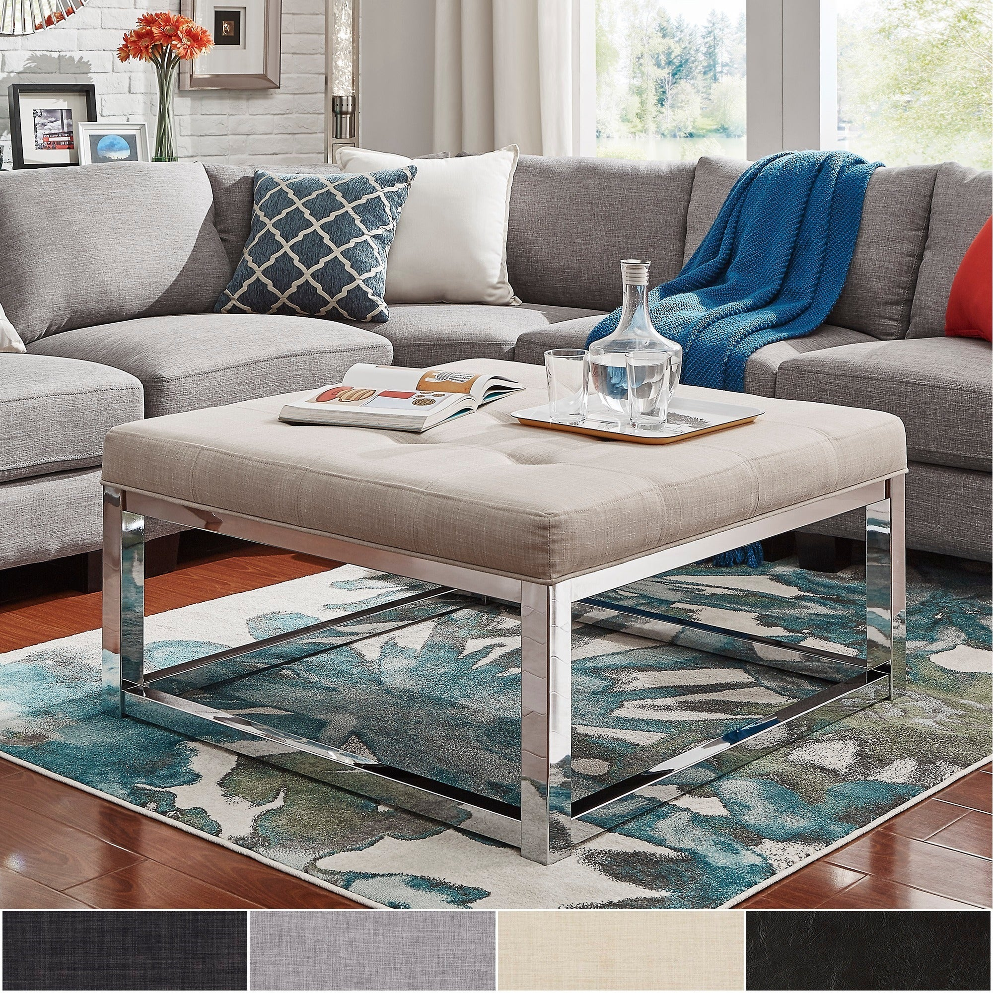 Solene Square Base Ottoman Coffee Table