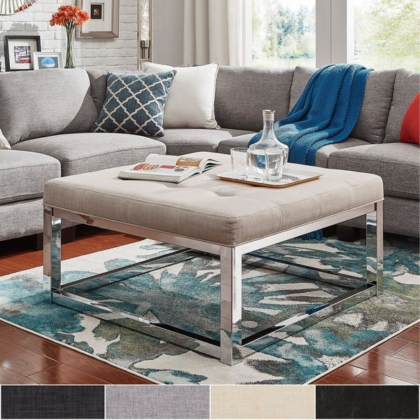Solene Square Base Ottoman Coffee Table   Chrome By INSPIRE Q Bold Part 94
