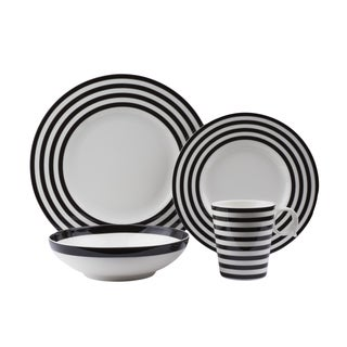 Red Vanilla Freshness Lines Black Bands Porcelain 16-piece Dinner Set