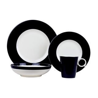 Red Vanilla Freshness Bandy Black Porcelain 16-piece Dinner Set