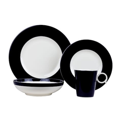 Red Vanilla Bandy Black Porcelain 4-piece Place Setting
