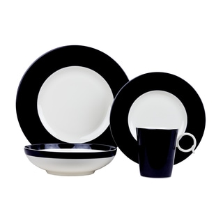 Red Vanilla White/Black Porcelain 4-piece Place Setting