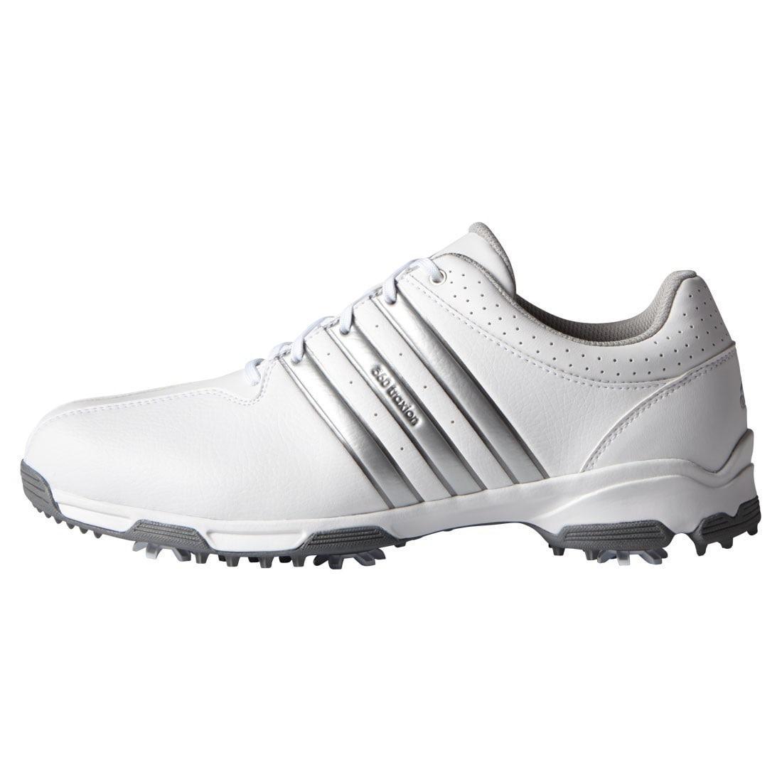 Adidas Men's 360 Traxion White/ Silver Metallic Golf Shoe...