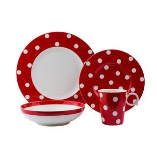 Red Vanilla Freshness Dots Red Porcelain 16-piece Place Setting