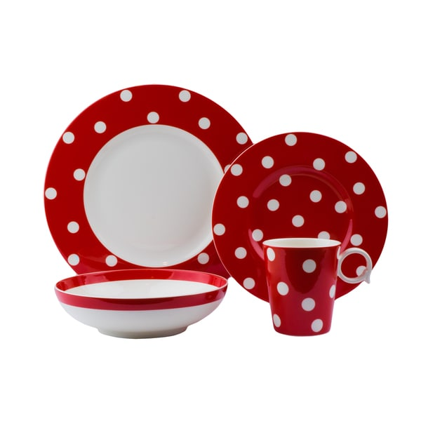 Red Vanilla Freshness Dots Red Porcelain 16-piece Place Setting  sc 1 st  Overstock.com & Red Vanilla Freshness Dots Red Porcelain 16-piece Place Setting ...