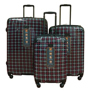 Ben Sherman Navy Plaid 3-Piece Lighweight Hardside Spinner Luggage Set