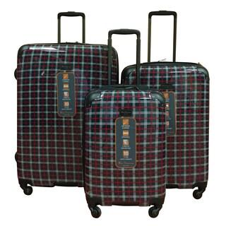 Ben Sherman Navy Plaid 3-Piece Lighweight Hardside Spinner Luggage Set