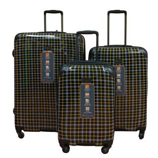 Ben Sherman Black Plaid 3-Piece Lightweight Hardside Spinner Luggage Set
