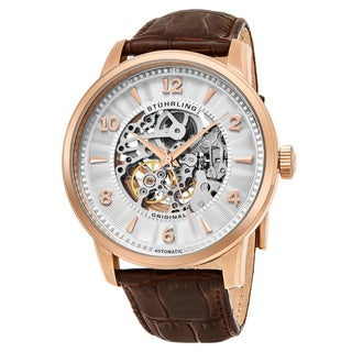 Stuhrling Original Men's Automatic Skeleton Brown Leather Strap Watch
