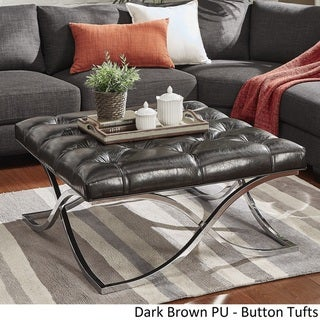 Solene X Base Square Ottoman Coffee Table - Chrome by INSPIRE Q