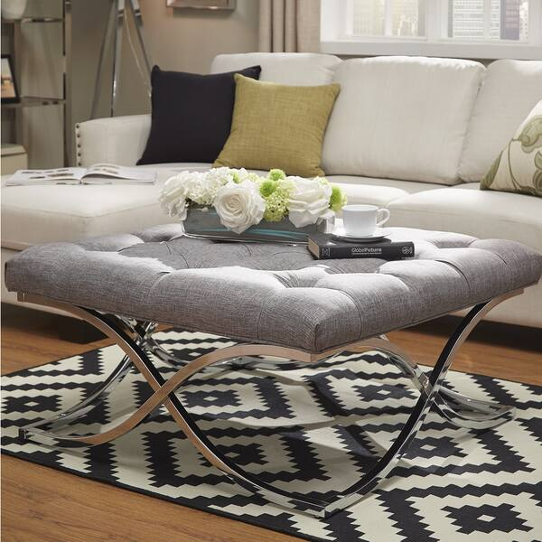 Incredible Shop Solene X Base Square Ottoman Coffee Table Chrome By Dailytribune Chair Design For Home Dailytribuneorg