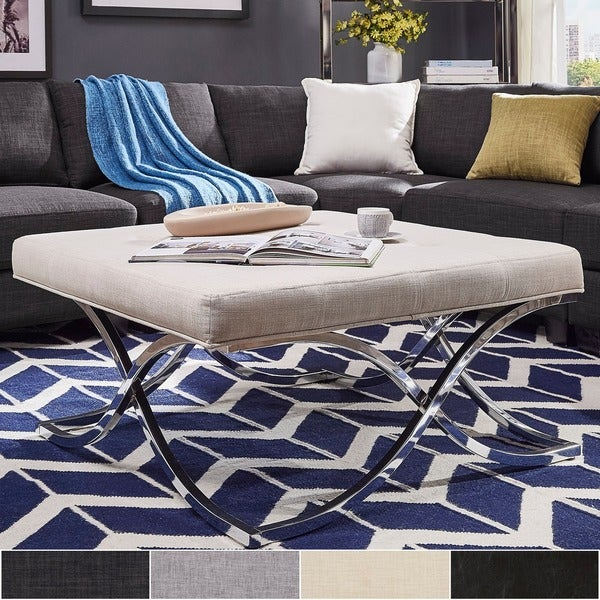 Solene X Base Square Ottoman Coffee Table - Chrome by iNSPIRE Q Bold. Opens flyout.