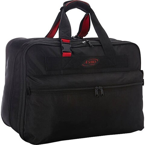 A.Saks Black Ballistic Nylon 21-inch Double Expandable Soft Carry-On Tote Bag