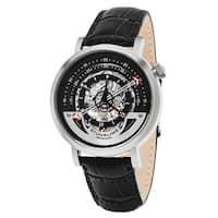 Stuhrling Original Men's Automatic Skeleton Legacy Black Leather Strap Watch