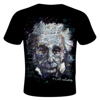 Stephen Fishwick Men's Black Cotton Albert Einstein 'It's All Relative' T-shirt