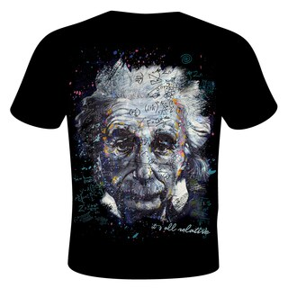 Stephen Fishwick Men's Black Cotton Albert Einstein 'It's All Relative' T-shirt