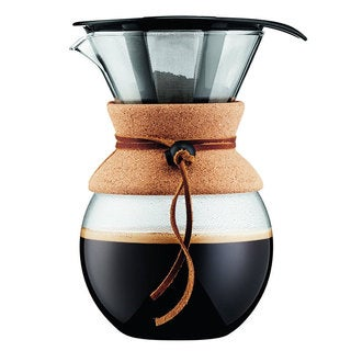 Bodum Pour Over 1 L Coffee Maker with Permanent Filter, 34 oz, Cork Band