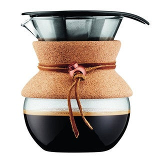 Bodum Pour Over Coffee Maker with Permanent Filter with Leather Band, 0.5 L/17 oz, Cork