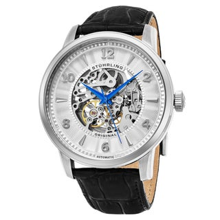 Stuhrling Original Men's Automatic Skeleton Legacy Black Leather Strap Watch