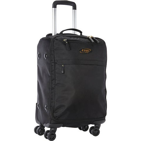 A.Saks Lightweight Black Ballistic Nylon 22-inch Carry-On Spinner Upright Suitcase