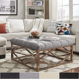 Solene Geometric Base Square Ottoman Coffee Table - Champagne Gold by INSPIRE Q