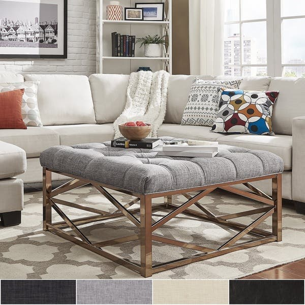 Shop Solene Geometric Base Square Ottoman Coffee Table Champagne