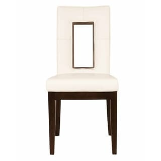 Cambio Off-white Faux Leather and Espresso Wood Dining Chair (Set of 2)