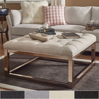 Solene Square Base Ottoman Coffee Table - Champagne Gold by INSPIRE Q
