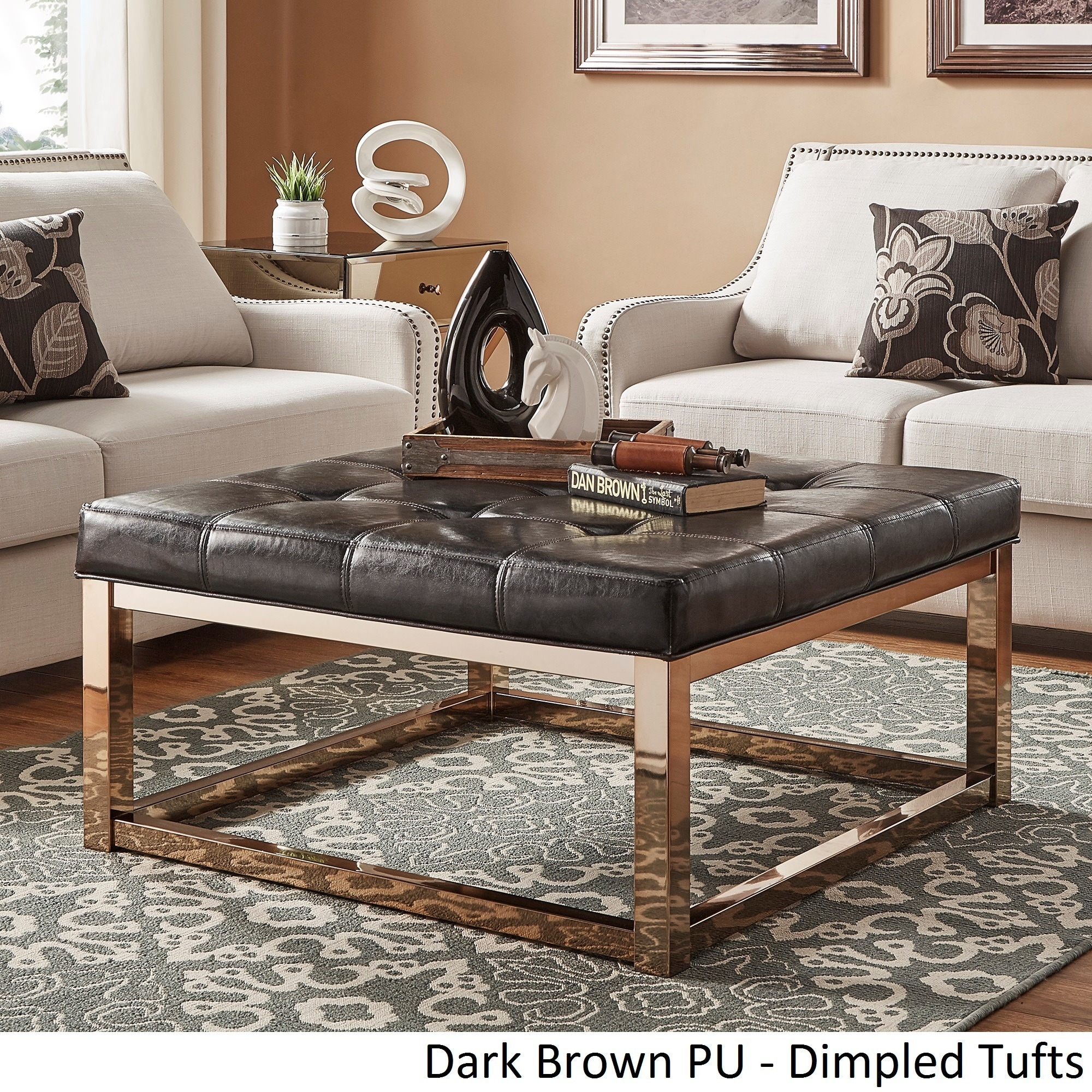 Beau Solene Square Base Ottoman Coffee Table   Champagne Gold By INSPIRE Q Bold  (More Options