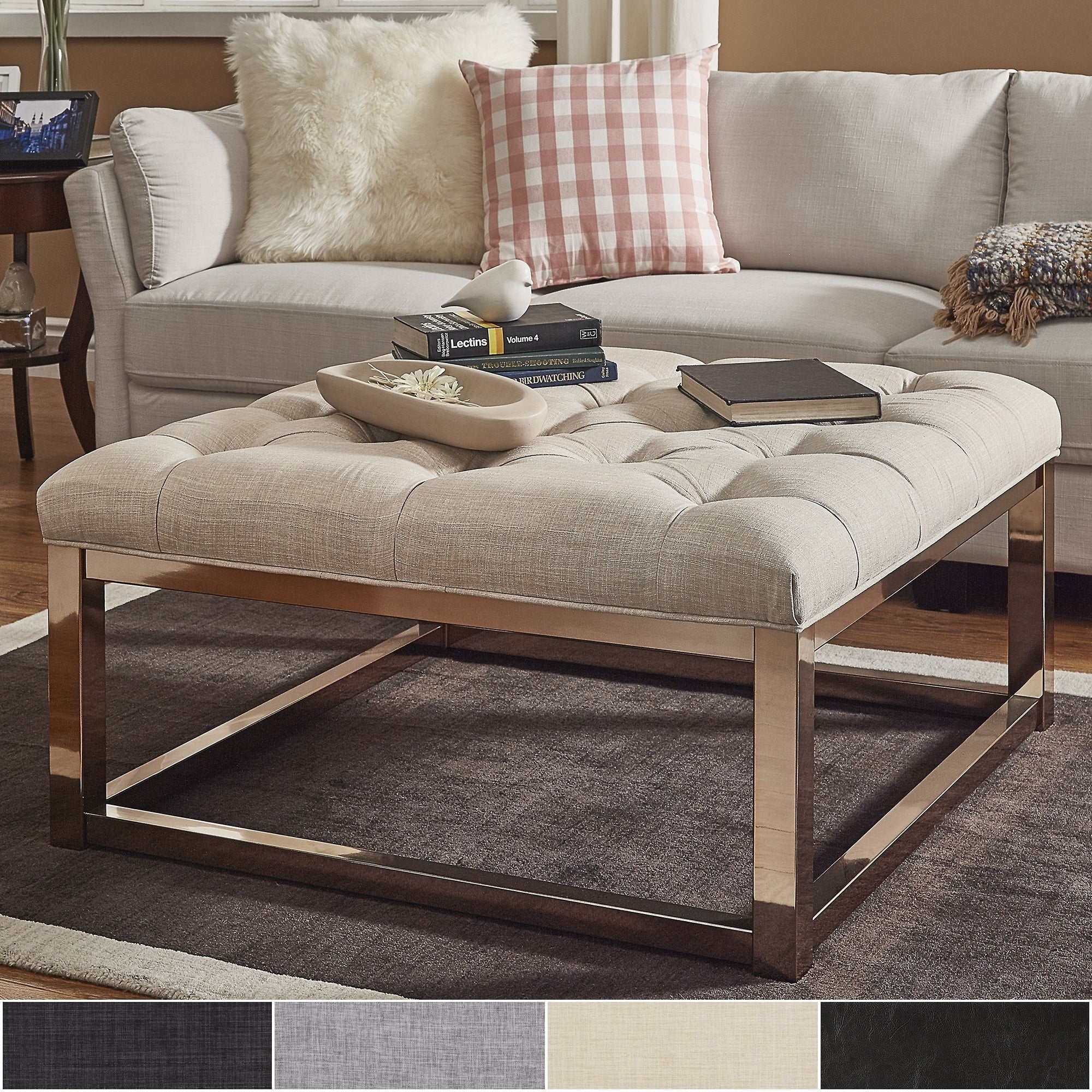 - Shop Solene Square Base Ottoman Coffee Table - Champagne Gold By