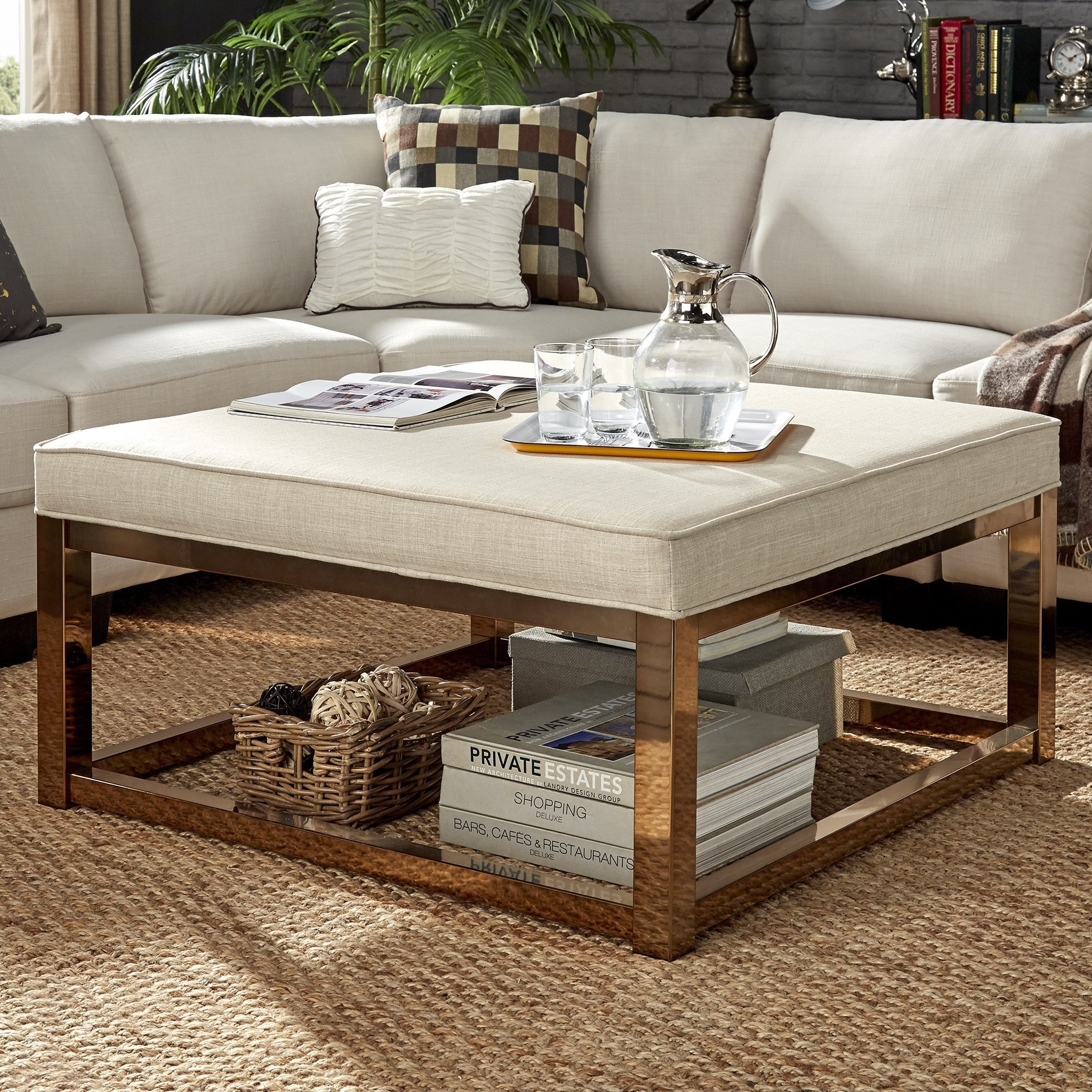 Magnificent Details About Solene Square Base Ottoman Coffee Table Champagne Gold By Large Machost Co Dining Chair Design Ideas Machostcouk
