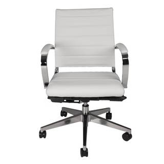 Modern Life Henley White Faux Leather Mid Back Office Chair