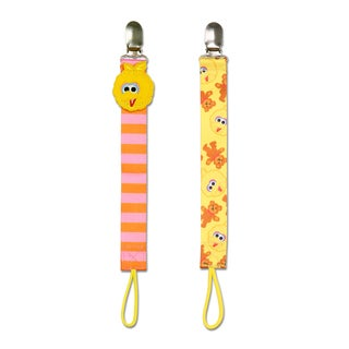 NoThrow Multicolor Polyester Sesame Street Big Bird Universal Pacifier Tethers (Set of 2)