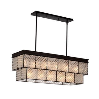 Zeev Lighting Adaman Collection Black/Bronze Rustic Iron/GlassTransitional Chandelier