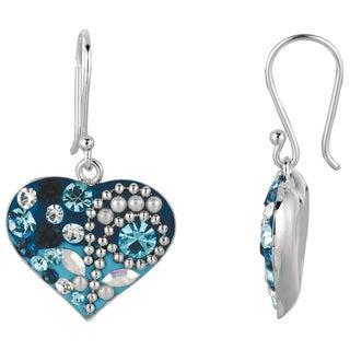 Multicolored Brass/Crystal Heart Fish Hook Earrings