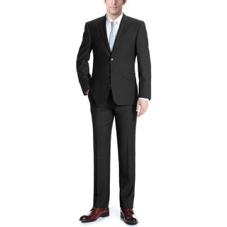Verno Men's Black Wool Slim Fit Two Piece Suit Jacket and Pants