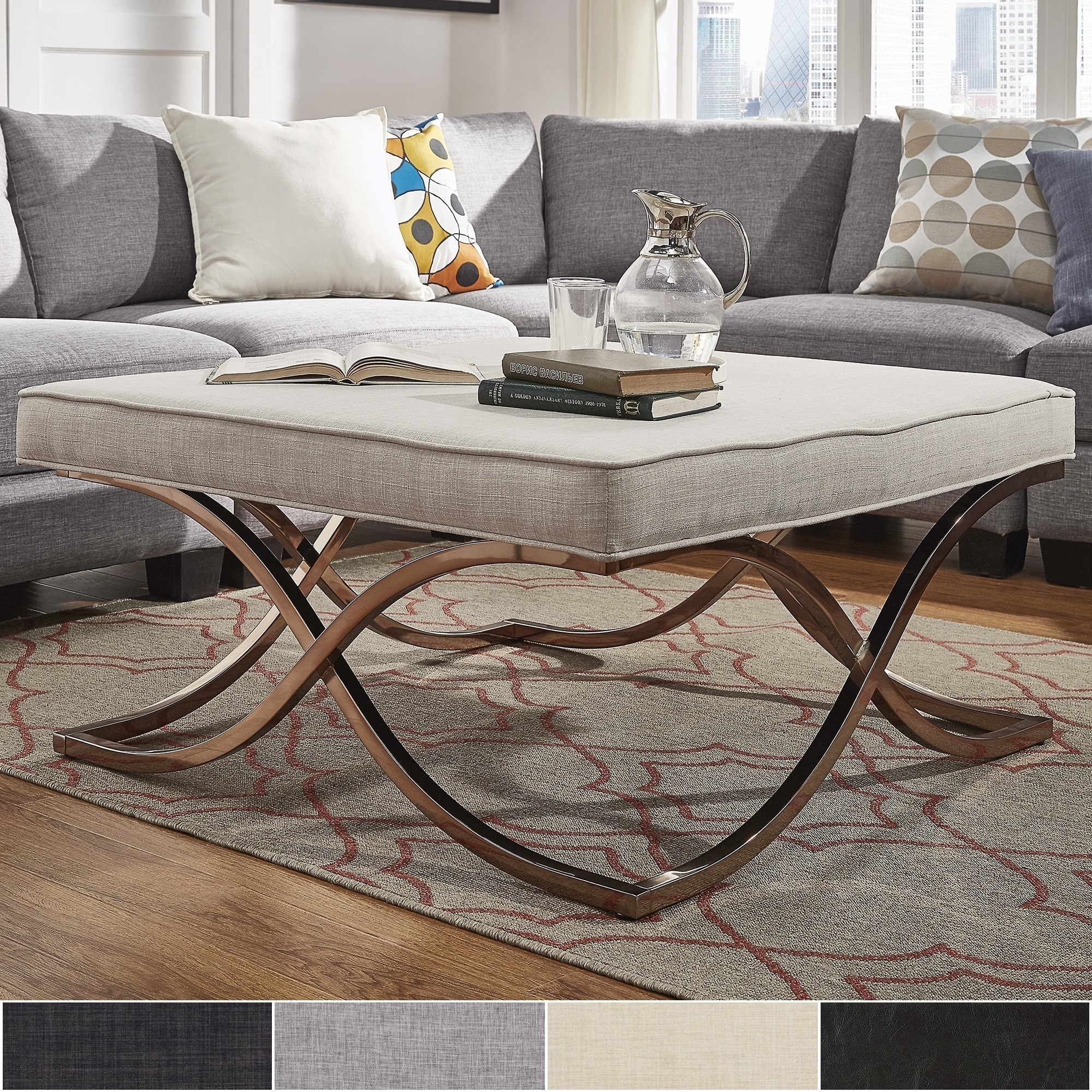 Shop Solene X Base Square Ottoman Coffee Table Champagne Gold By