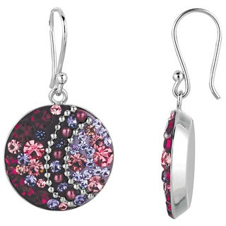 Silver Plated Brass Purple and Multi Color Crystal Round Fish Hook Earrings