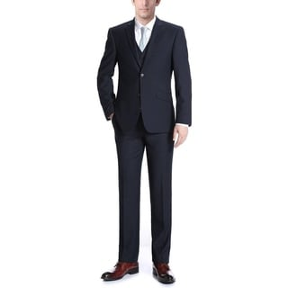 Verno Men's Navy Blue Wool Slim Fit Three-piece Suit