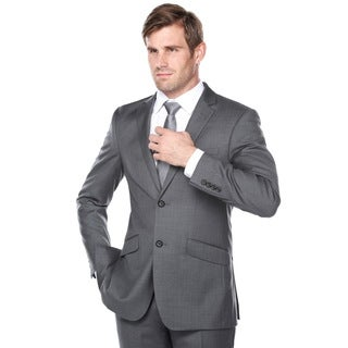 Verno Men's Dark Grey Wool Classic Fit Italian Styled Three Piece Suit