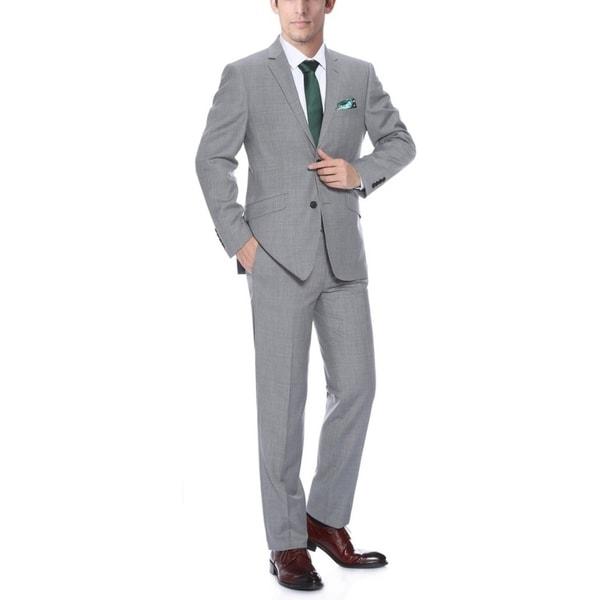 Verno Men's 100 Wool Grey Slim Fit Two Piece Suit (Jacket & Pants)
